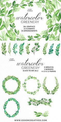 Watercolor Greenery Leaves Clipart by Essem Creatives on @creativemarket - Pantone Greenery Leaves Clipart, Watercolor Leaf Wreath, Green Branch, Olive Wreath, Laurel wreath, Eucalyptus Leaves Clipart, garden wedding invitation, Rustic clipart, greenery clipart, Romantic, elegant, spring wedding, summer wedding invitation, DIY stationery.  This is a set of hand painted watercolor leaves, branches, wreaths and borders in Pantone's Color of the Year 2017 - Greenery. It's perfect for romantic…