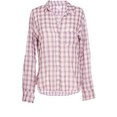 Velvet by Graham and Spencer Setha Plaid Lurex Button-Up Top ($142) ❤ liked on Polyvore featuring tops, blouses, purple, velvet by graham & spencer, tartan top, pink button up blouse, button up tops e purple blouse