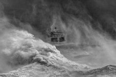 Ferry Leaving Newhaven Harbour In Storm' shot in East Sussex, England, by David Lyon