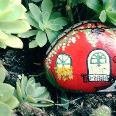 #rockpainting #stone #paintedrocks #redhouse #paint #colors