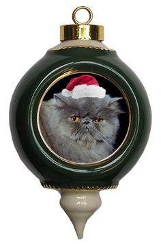 Persian Cat Victorian Green & Gold Christmas Ornament
