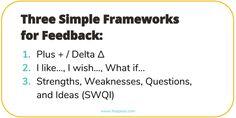 Three Simple Feedback Frameworks TRANSCRIBED