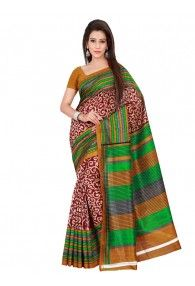 Shonaya Red, Green & Golden Colour Bhagalpuri Silk Printed Saree With Unstitched Blouse Piece