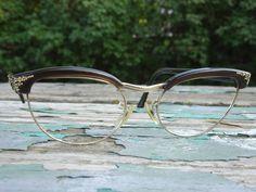 bf903a6ae41 Vintage Shuron Rhinestone Cat Eye Club Master Brow Line S C2 Eyeglass Frames