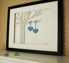 Lyrics Paper Tree with Hanging Initialed Hearts ~ I'd like this in our bedroom. Good gift idea too!