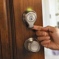 Kwikset SmartScan. Scans programed fingerprints and unlocks immediately!
