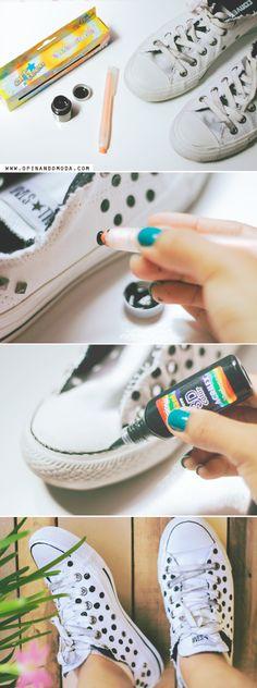 DIY : Como customizar tênis - Estampa de poá