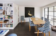 Kassala Road - Granit Architects. Bright fun space, dark wooden floors, crittall glazing, bold print.