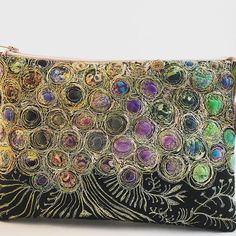Small, clutch bag, truly one of a kind. Heavily machine stitched and beaded on felt. Embroidery Art, Machine Embroidery, Couture, Fabric Scraps, Clutch Bag, Creations, Fancy, Quilts, Stitch