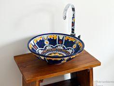 Buntes Waschbecken aus Mexiko, Modell Royal, Form: Mex 5, rund ca. 44 cm
