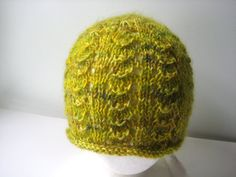 spring green lace wool and mohair knit hat by beaconknits on Etsy #hvnyteam