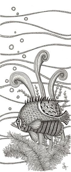 Print of black and white Tangle Fish pen and ink...