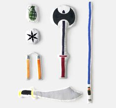 Amazing pillow fight weapons. There's something for everyone: a battle axe, grenade, ninja star, nun-chucks, sword and last but not least, a lightsaber.  #Pillowfight #Toys