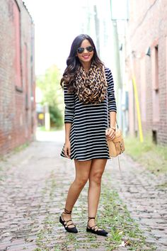 Striped dress & leopard print scarf... @zara lace-up flats.