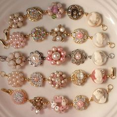 """RESERVED Soft Pink, Ivory Pearl, & Cameo Bridesmaids Bracelets Set of 5 by """"AmoreTreasure"""" on Etsy"""