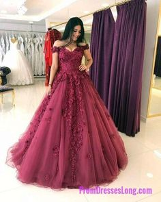 Lace Appliques Prom Dresses Ball Gowns,Tulle Quinceanera Dress,Off Shoulder Evening Gowns MT20187284