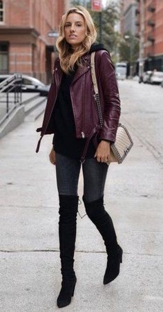 #winter #fashion /  Burgundy Leather Jacket // Black Sweater // Dark Skinny Jeans // Black Suede Laced Up Over The Knee Boots