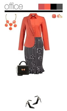 Office outfit: Black - Coral - Floral by downtownblues on Polyvore #officewear  #floral  #floralskirt