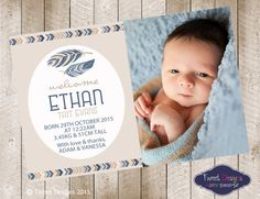 TRIBAL BIRTH ANNOUNCEMENT Boy Printable Baby by TweetPartyBoutique