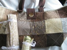 Quilted Brown Knitters Crochet Yarn Project Tote Bag with Needle Rollups by JDCreativeHands on Etsy