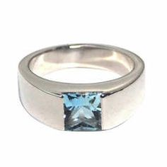 CARTIER --- Tank Ring 18K White Gold with Aquamarine Ref. B4032400 Size 48 (4.5)