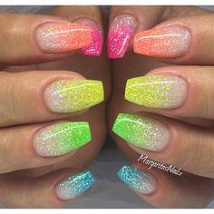 neon glitter ombre nails