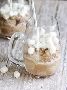 Frozen Hot Cocoa! Easy Snow Cocoa Ice cream and marshmallow recipe the kids will love!