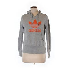 9d51ee21295c Pre-owned Adidas Pullover Hoodie Size 8  Gray Women s Tops (€18) ❤ liked on  Polyvore featuring tops, hoodies, grey, hoodies pullover, pullover hoodie,  ...