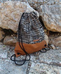 Turnbeutel/ Rucksack Leder braun/ beige-schwarz von mysackerl   auf DaWanda.com