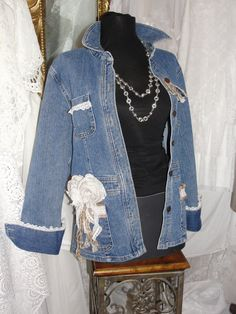 Jean jacket with lace, roses, jute, gypsy boho, bohemian, upcycled, recycled, shabby romance  Such a cute jean jacket with added lace, jute and