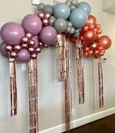 Birthday Party Decorations Diy, Balloon Decorations Party, Baby Shower Decorations, Birthday Party Themes, Balloon Bouquet, Balloon Arch, Balloon Garland, Festa All Black, Birthday Balloons