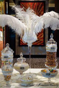What's not to love about the Great Gatsby Theme party! Modelled after ' The Great Gatsby' Movie, we set out with this mind: Feathers, . Great Gatsby Themed Wedding, Great Gatsby Wedding, Wedding Reception, 1920s Wedding, Decor Wedding, Wedding Ideas, Roaring 20s Party, 1920s Party, 1920s Theme