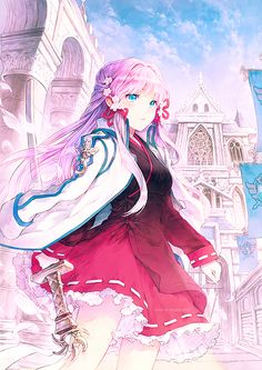 wow something about this i just find it gorgeous the pose the sword and the city in the background :o