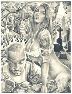 ♥♥ Chicano Style Tattoo, Chicano Tattoos, Body Art Tattoos, Arte Cholo, Cholo Art, Chicano Drawings, Art Drawings, Lowrider Drawings, Og Abel Art