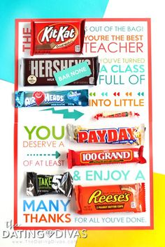 Last Day of School Candy Gram for Teachers- the is PERFECT for a lot day of school teacher gift or end of the year surprise for teacher appreciation week! Free Printable from The Dating Divas by marian Male Teacher Gifts, Student Teacher Gifts, Teacher Gift Baskets, School Teacher, Teacher Shirts, Employee Appreciation Gifts, Teacher Appreciation Week, Teacher End Of Year, Candy Bar Posters