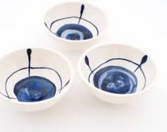 Set of three simple, modern, Delft blue hand painted earthenware ceramic little bowls, dipping bowls, mini dishes - MADE TO ORDER Ceramic Decor, Ceramic Plates, Ceramic Pottery, Ceramic Art, Pottery Painting, Ceramic Painting, Paint Your Own Pottery, Pottery Marks, Bowls