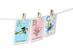 Digital baby ABC flashcards / pastel gingham and by KBandFriends. Use these to create a banner for a baby shower. Spell out the baby's name!