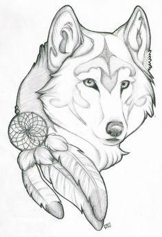 Lobo con plumas de tocada de cacique. Más cerca del concepto para la manga izquierda.