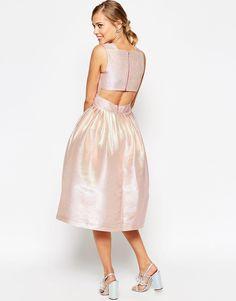 Image 2 ofASOS SALON Holographic Shimmer Midi Prom Dress