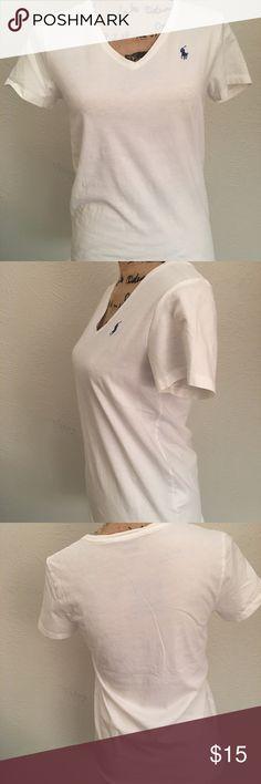 White Ralph Lauren V-neck T-shirt White Ralph Lauren tee in excellent condition!! Ralph Lauren Tops Tees - Short Sleeve