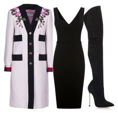 Purple & Black by carolineas on Polyvore featuring polyvore, fashion, style, Victoria Beckham, Gucci, Casadei and clothing