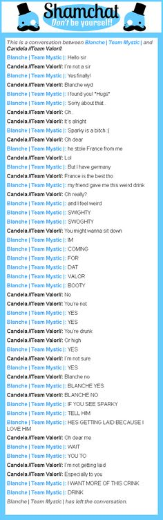 A conversation between Candela //Team Valor// and Blanche   Team Mystic  