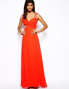 Lipsy Built Up Shoulder Embellished Maxi Dress - Orange on shopstyle.com.au