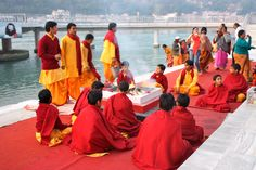 Arti (pooja) ceremony by the Mother Ganges in Rishikesh, India. (February 2012)