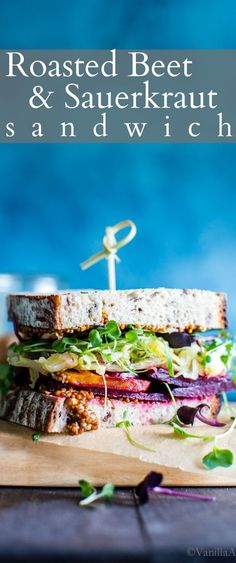 Flavor and texture rich simple ingredients shine in this. Flavor and texture rich simple ingredients shine in this Roasted Beet and Sauerkraut Sandwich with a good schmear of whole grain mustard to bring the flavors together. Best Vegetarian Sandwiches, Vegan Lunch Recipes, Delicious Vegan Recipes, Veggie Recipes, Healthy Recipes, Vegan Food, Healthy Eats, Delicious Sandwiches, Vegan Meals