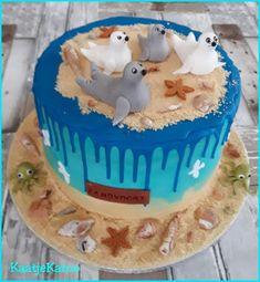 Familie zeehond (driptaart) Birthday Cake, Desserts, Food, Tailgate Desserts, Birthday Cakes, Deserts, Eten, Postres, Dessert