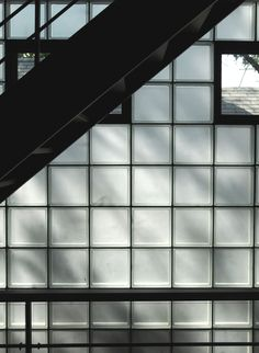 "12"" Glass Block with Black Grout for industrial factory feel - Wabansia — audrain architecture"