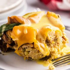 Crockpot Eggs Benedict Casserole - from scratch, rich and creamy hollandaise sauce drizzled over light and fluffy eggs benedict casserole made with English muffins, smoky Canadian bacon, fresh spinach, and slow-cooked to perfection. An updated, hands-off, take on a breakfast classic.| www.persnicketyplates.com Slow Cooker Casserole, Stuffing Casserole, Herb Stuffing, Turkey Stuffing, Slow Cooker Recipes, Crockpot Recipes, Frozen Hashbrown Recipes, Homemade Hollandaise Sauce, Eggs Benedict Casserole