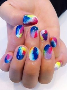 bright colored marbled nails