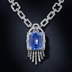 Close Up Detail: Art Deco Lacloche Frères 33.06 Carat Sapphire Diamond Platinum Necklace, circa 1930